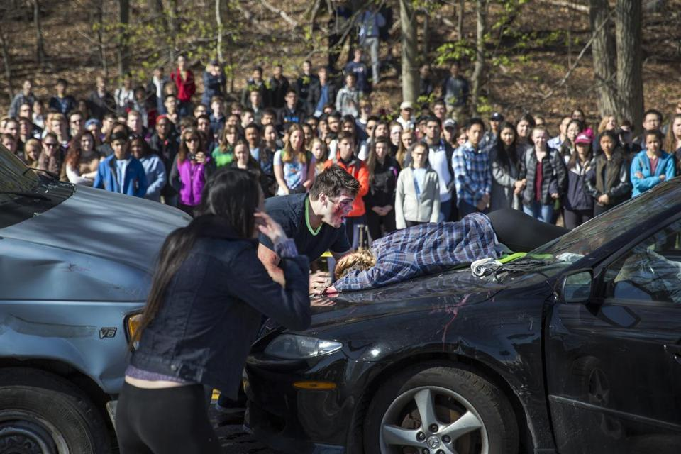The scene of a mock accident simulation put on by Lexington High School to highlight the issues of underage drinking and impaired driving.